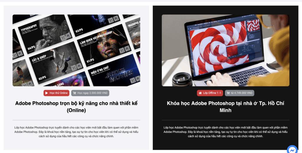 Khoá học Adobe Photoshop online và offline