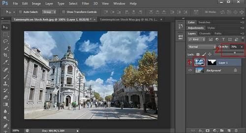 Hướng dẫn cách ghép ảnh mây trời trong Photoshop