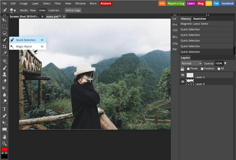 Thêm Bớt Vùng Chọn Để Làm Mở Nên Bằng Photoshop Online